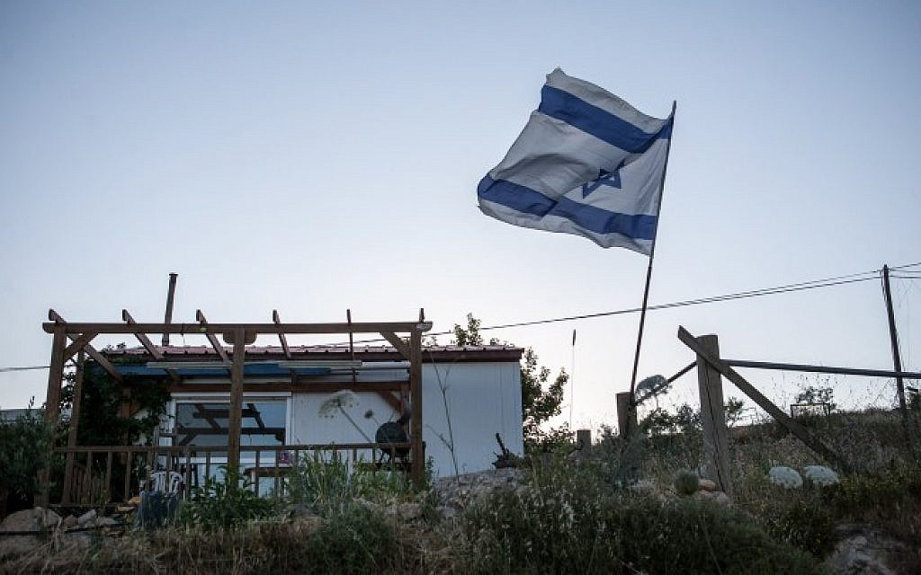 A mobile home in the outpost of Amona. (Noam Moskowitz/Flash90)