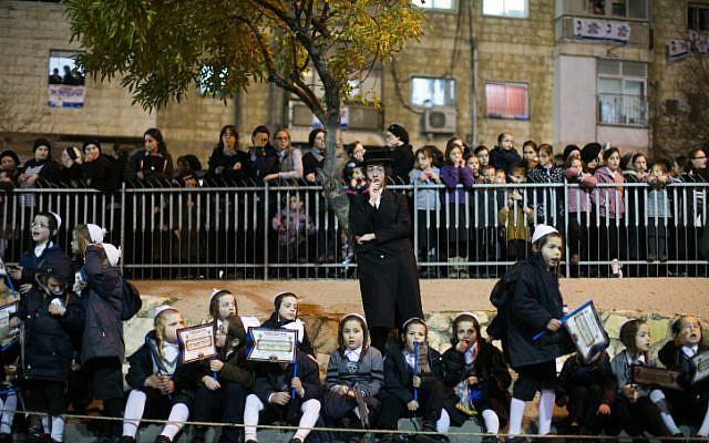 File: Ultra Orthodox Jews belonging to the Satmar Hasidic group headed by Satmar Admor of Williamsburg, Rabbi Zalman Leib Teitelbaum, wait for his arrival in the Ultra Orthodox Jewish neighborhood of Mea Shearim in Jerusalem on January 20, 2013. Photo by Yonatan Sindel/Flash90