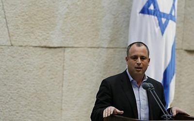 Labor MK Hilik Bar speaks in the Knesset (photo credit: Miriam Alster/Flash90/File)