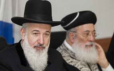 Ashkenazi Chief Rabbi Yona Metzger (L) and Israel's Sephardi Chief Rabbi Shlomo Moshe Amar, March 11, 2013. (photo credit: Flash 90)