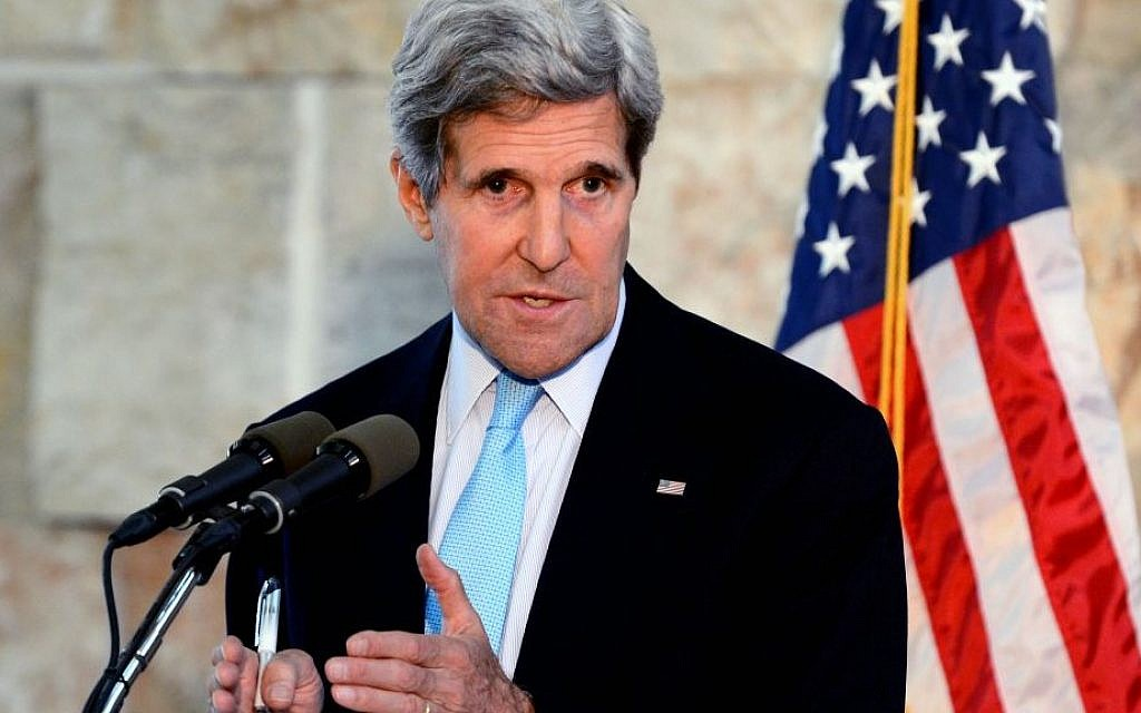 US Secretary of State John Kerry during a press conference in Tel Aviv, June 30, 2013. (photo credit: Matty Stern/US Embassy/Flash90)