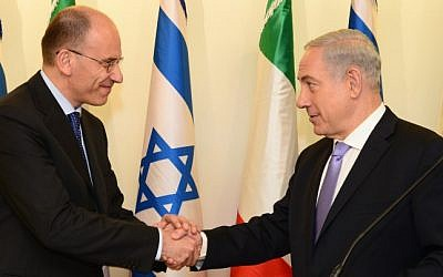 Benjamin Netanyahu (right) holds a joint press conference with his Italian counterpart Enrico Letta, in Jerusalem, Monday (photo credit: Moshe Milner/GPO/Flash90)