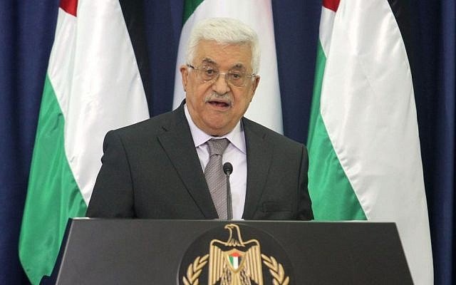 Palestinian Authority President Mahmoud Abbas speaks during a press conference following his meeting with Italian Prime Minister Enrico Letta at the Palestinian Presidential compound in the West Bank city of Ramallah on June 30, 2013 (photo credit: Issam Rimawi/Flash90)