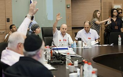 The Knesset Finance Committee votes on clauses of the 2013 state budget, at the Knesset on Thursday, July 18. (photo credit: Flash90)