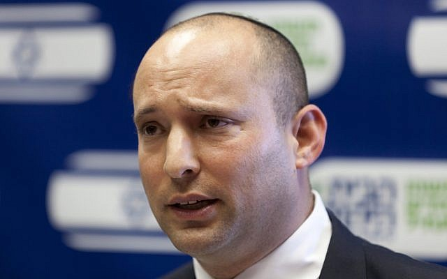 Economics Minister Naftali Bennett speaks during a meeting of his Jewish Home faction at the Knesset, on Monday, July 22 (photo credit:  Flash90)