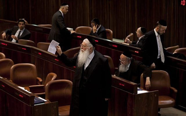 Ultra-Orthodox MKs at the Knesset on July 22, 2013 ahead of a vote on a universal draft bill which would conscript members of the religious community. (Flash90)