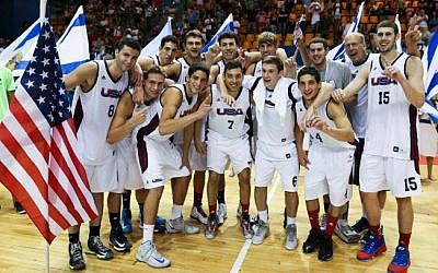 The US's Maccabiah basketball team celebrating after winning the final game in Jerusalem on July 29, 2013 (photo credit: Yonatan Sindel/Flash90)