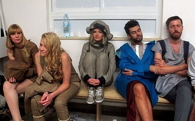 Relaxing backstage before the Bezalel Academy end-of-year fashion show at the Jaffa 23 gallery (photo credit: Leeor Bronis/Times of Israel)