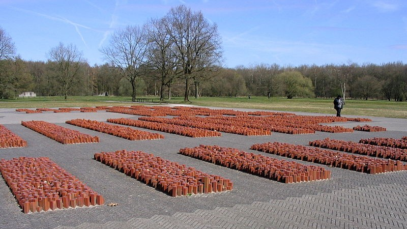 Thousands of stones with Stars of David on them memorialize 100,000 Jews who came through the Westerbork transit camp in the Netherlands on their way to Nazi death camps (Vanrijnr/Wikimedia Commons)