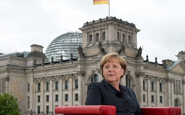 German Chancellor Angela Merkel gives a television interview in Berlin, Germany, Sunday July 14 (photo credit: AP/dpa,Soeren Stache)