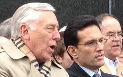 Steny Hoyer (D-Md. right) and Eric Cantor (R-Va.), Montgomery, Ala., March 2, 2013.  (photo credit: Religious Action Center of Reform Judaism/JTA)