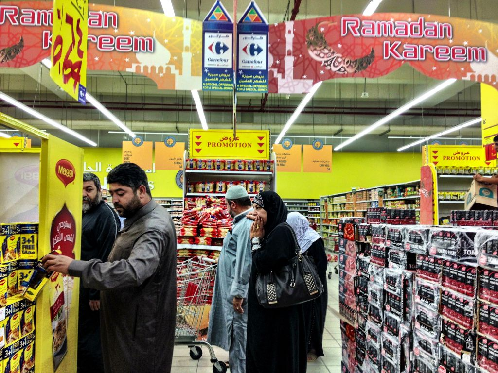 A busy supermarket in West Amman. Food stores are open all day, providing people with a chance to stock up for their evening Iftar meals. (photo credit: Michal Shmulovich/Times of Israel)
