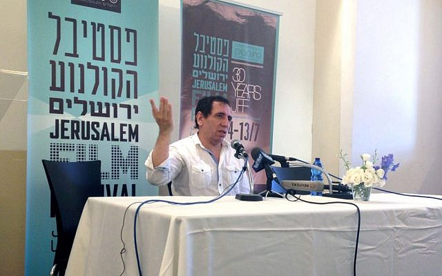 Mohsen Makhmalbaf talking about Iran, freedom and Israel's similarities to his native country at a Jerusalem press conference. (photo credit: Leeor Bronis/Times of Israel)