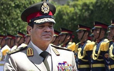 Egyptian Armed Forces Commander in Chief Abdel-Fattah el-Sissi, whom many Egyptians are urging to run for president, April 2013 (photo credit: AP/Jim Watson/Pool/File)