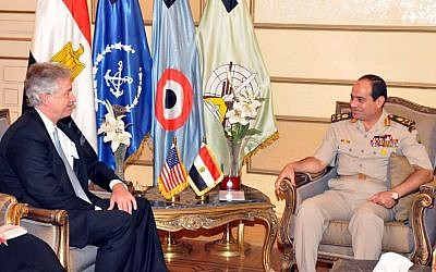 US Deputy Secretary of State William Burns, left, meeting with Defense Minister Gen. Abdel-Fattah el-Sissi, right, in Cairo. (photo credit: AP/Egypt Army spokesman via Facebook)