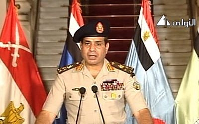 Abdel-Fattah el-Sissi speaking on state television, July 3. (photo credit: Screenshot AP/Egypt State Television)
