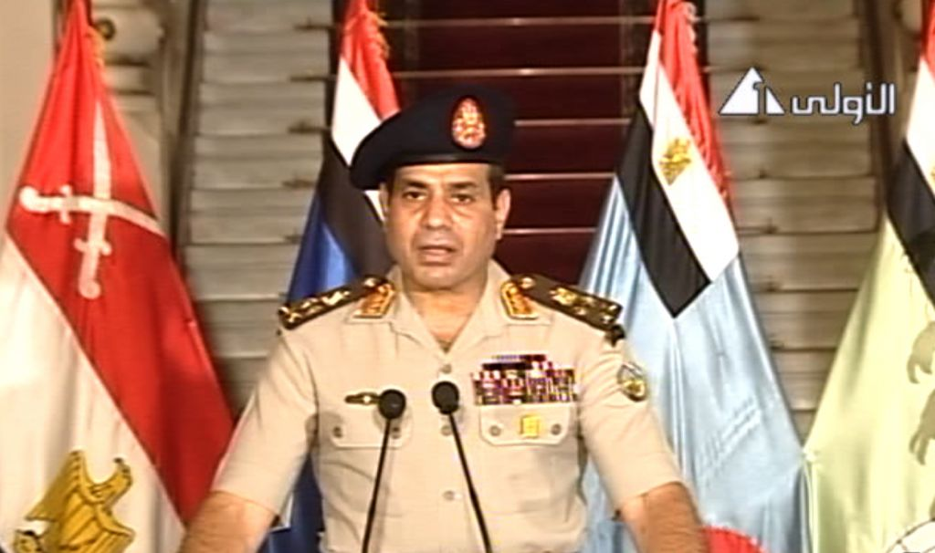 Al-Sisi speaking on state televison. (Screenshot: Egypt State Television/ AP)