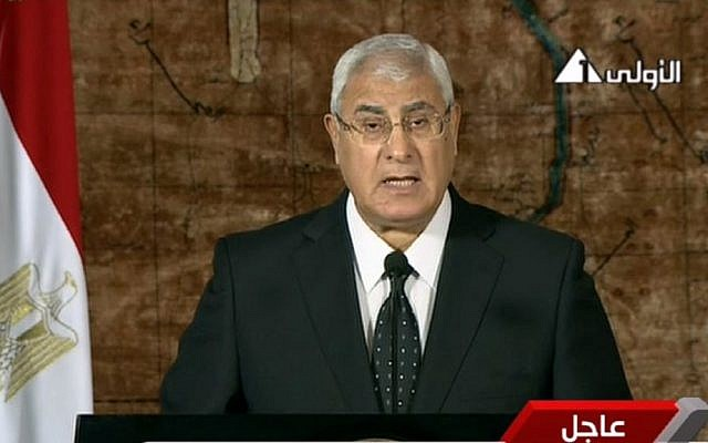 Egypt's interim President Adly Mansour makes his first address to the nation since taking his post after the ouster of Islamist President Mohammed Morsi, in Cairo, Egypt, Thursday, July 18, 2013. (photo credit: AP/Egyptian State Television)