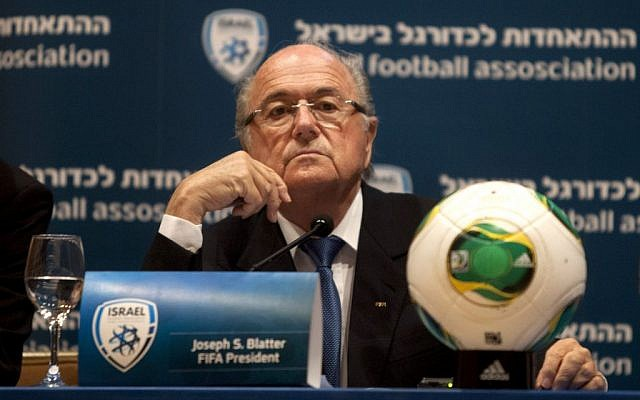 FIFA President Sepp Blatter at a press conference in Jerusalem, on Tuesday, July 9, 2013. (photo credit: Sebastian Scheiner/AP)