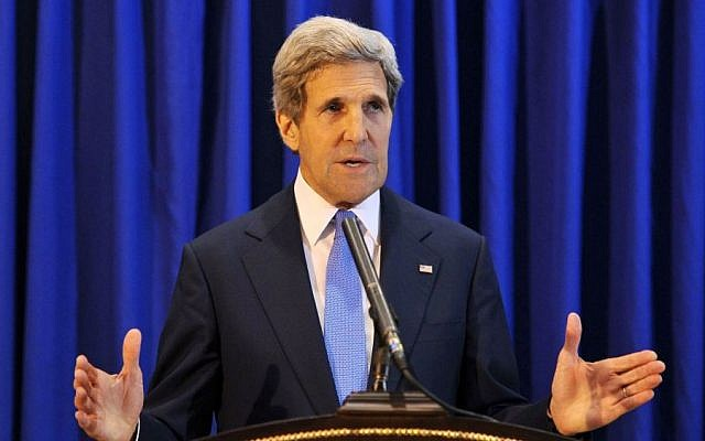 US Secretary of State John Kerry speaks during a press conference at Queen Alia International Airport in Jordan on Friday, July 19, 2013. (photo credit: AP/Mandel Ngan, Pool)