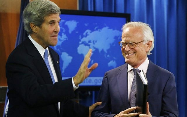 US Secretary of State John Kerry with former US ambassador to Israel Martin Indyk at the State Department in Washington, Monday, July 29, 2013 (AP/Charles Dharapak)