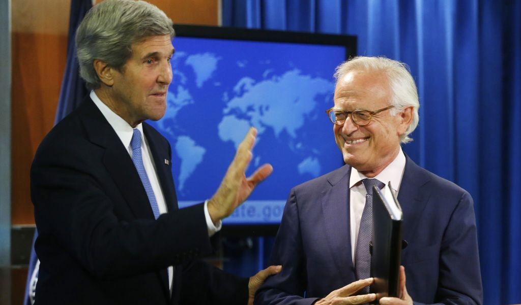 Secretary of State John Kerry with former US Ambassador to Israel Martin Indyk at the State Department in Washington, Monday, July 29, 2013, as he announces that Indyk will shepherd the Israeli-Palestinian peace talks. (Photo credit: AP/Charles Dharapak)