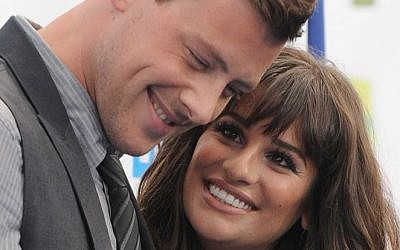 Cory Monteith, left, and Lea Michele at the 2012 Do Something awards in Santa Monica, California, Aug. 19, 2012 (photo credit: Jordan Strauss/Invision/AP)