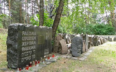 Monuments at Rumbula Forest Holocaust site, in Riga, Latvia (photo credit: CC BY SA 3.0, by Adam Jones, PhD., Wikimedia Commons)