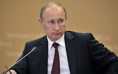 Russian President Vladimir Putin, Tuesday, July 16, 2013. (photo credit: AP/RIA-Novosti, Alexei Nikolsky, Presidential Press Service)