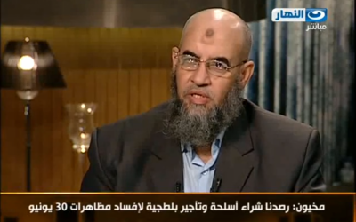 Egyptian Salafist al-Nour party leader Younes Makhioun (photo credit: image capture from YouTube)