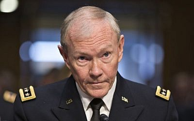 Gen. Martin Dempsey, chairman of the Joint Chiefs of Staff, appears before the Senate Armed Services Committee on July 18, 2013. (photo credit: AP/J. Scott Applewhite)