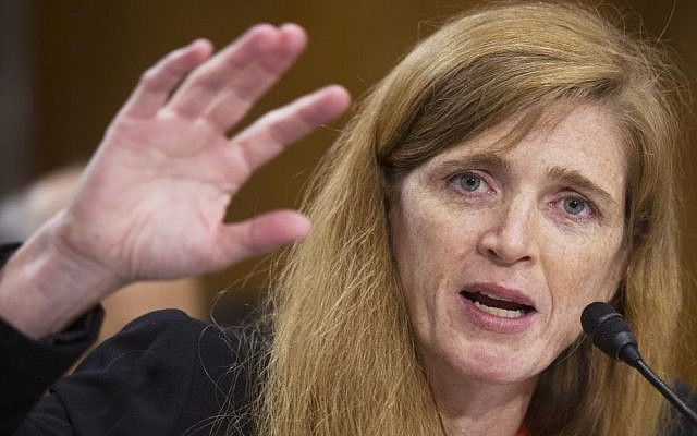 Newly confirmed US envoy to the UN Samantha Power testifies at her confirmation hearing before the Senate Foreign Relations Committee in Washington, D.C., last month. (photo credit: AP/Cliff Owen)