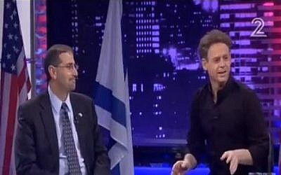 US Ambassador Dan Shapiro and host Lior Lior Schlein on the Israeli political satire program 'Matzav Haumah' (State of the Nation), on July 27, 2013. (photo credit: screen shot, YouTube).