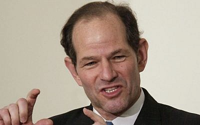 This Nov. 12, 2009 file photo shows former New York gov. Eliot Spitzer addressing an audience during a Harvard University ethics forum on the school's campus in Cambridge, Mass. (photo credit: AP Photo/Steven Senne, file)
