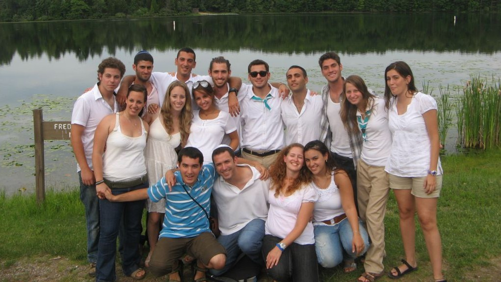 Israeli emissaries and campers at Camp Tamarack in Michigan in 2009. (photo credit: Jewish Agency for Israel/JTA)