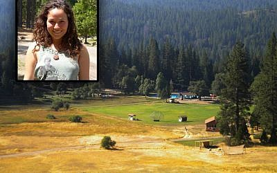 Annais Rittenberg, inset, a 21-year-old counselor, was killed when a massive oak tree crashed down on a campfire circle at northern California's Camp Towanga, seen here. (photo credit: Facebook via JTA)