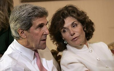 Then Sen. John Kerry, D-Mass, left, talks with his wife Teresa Heinz Kerry while watching election results at a hotel in Boston, in 2008 (photo credit: AP/Michael Dwyer)