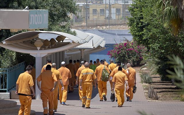 Illustrative image of inmates it the Tsalmon prison in the Lower Galilee, July 01, 2013 (photo credit: Moshe Shai/Flash90)
