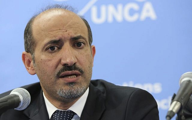 Syrian opposition leader Ahmad Al-Jarba speaks at the United Nations headquarters in July 2013. (photo credit: AP/Mary Altaffer)