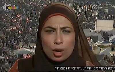 Egyptian journalist Himda Hamdi abu-Sayyaf speaks on Israeli TV (photo credit: screen capture: Channel 10)