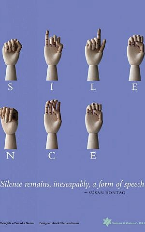 Arnold Schwartzman, the artistic director of Voices & Visions, chose a Susan Sontag quote to illustrate with sign language. (photo credit: courtesy)
