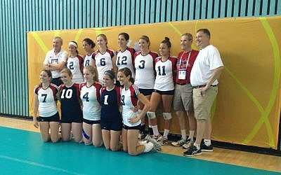 The Maccabiah USA volleyball team (photo credit: Leeor Bronis/Times of Israel)