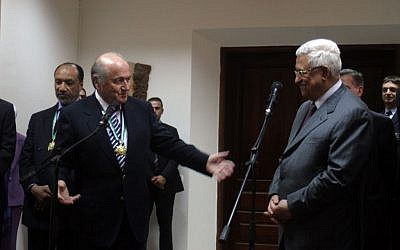 FIFA President Sepp Blatter and Palestinian Authority President Mahmoud Abbas in Ramallah, October 2008. (photo credit: Issam Rimawi/Flash 90)