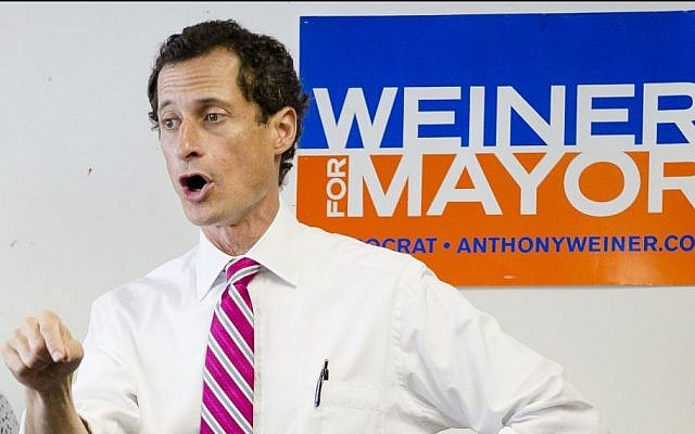 New York City mayoral candidate Anthony Weiner speaks to voters during a campaign stop at the Nan Shan Senior Center, Monday, July 29, 2013, in the Queens borough of New York. (photo credit: AP Photo/John Minchillo)