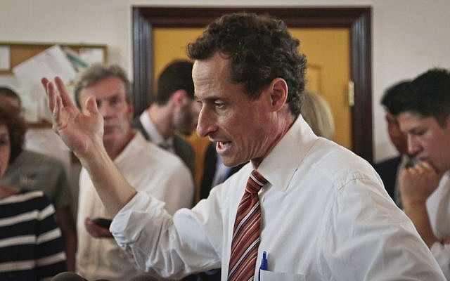 Anthony Weiner, New York mayoral candidate, speaks during a news conference, Thursday, July 25, 2013, in New York. (photo credit: AP Photo/Bebeto Matthews)