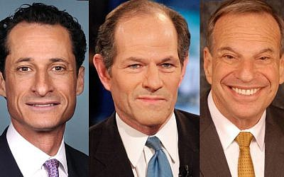 From left, Anthony Weiner, Eliot Spitzer and Bob Filner, three Jewish politicians seeking to move on after misdeeds. (photo credit: United States Congress/Getty Images/City of San Diego/via JTA)
