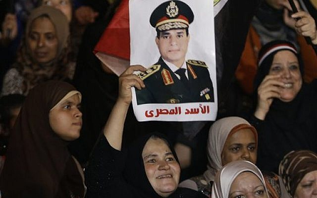 An opponent of ousted president Mohammed Morsi holds up a poster of Egyptian Defense Minister General Abdel-Fattah el-Sissi, their 'Lion of Egypt,' during a rally at Tahrir Square, in Cairo, Egypt, on July 19, 2013. (photo credit: AP/Hussein Malla)