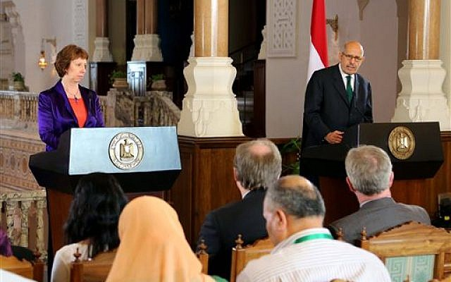 Egyptian Vice President Mohamed ElBaradei, right, making remarks at a joint news conference with EU foreign policy chief Catherine Ashton, left, at the presidential palace in Cairo, Egypt, Tuesday, July 30, 2013 (photo credit: AP Photo/Egyptian Presidency)