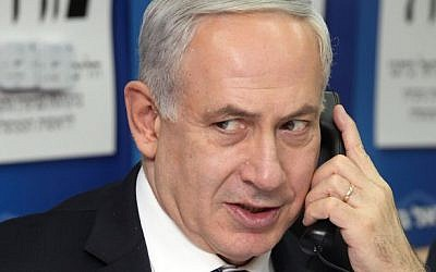 Prime Minister Benjamin Netanyahu talks on the phone. (Gideon Markowicz/Flash90)