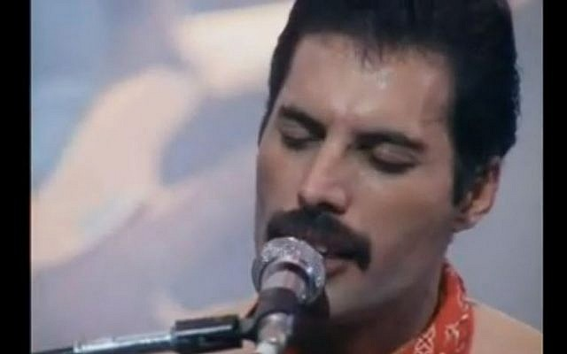 Freddie Mercury in concert (photo credit: Youtube screen capture)